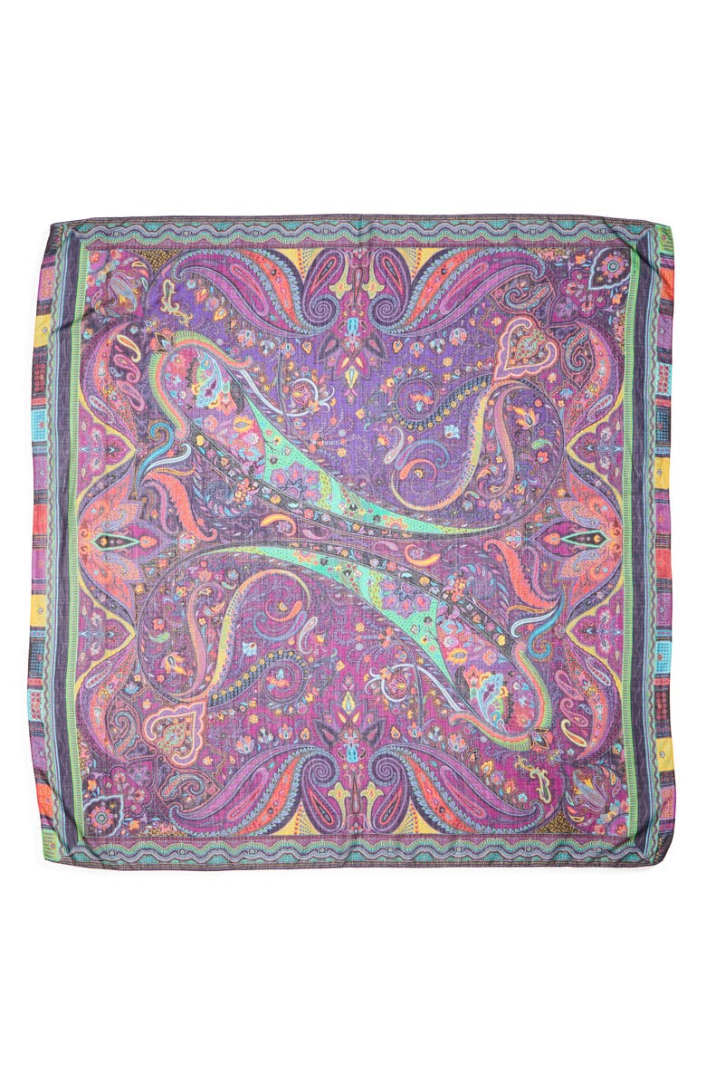 ETRO Scialle Bombay Paisley Wool & Silk Scarf, Main, color, 500