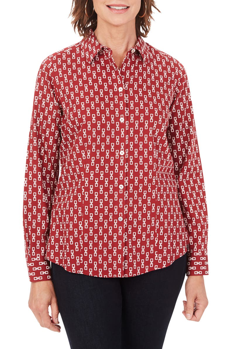 FOXCROFT Dianna Button-Up Shirt, Main, color, ROSEWOOD