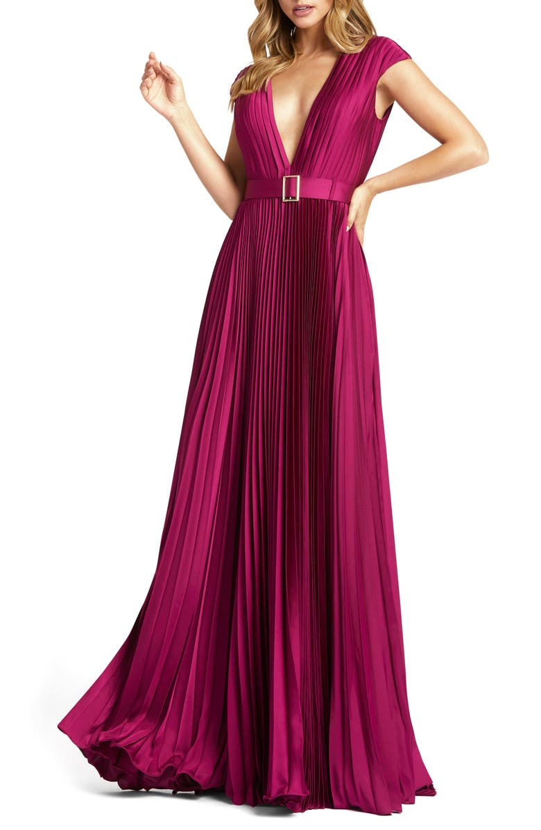 MAC DUGGAL Plunge Pleat Gown, Main, color, RASPBERRY