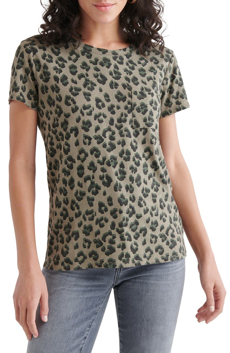 LUCKY BRAND Leopard Graphic Pocket Tee, Main, color, OLIVE MULTI