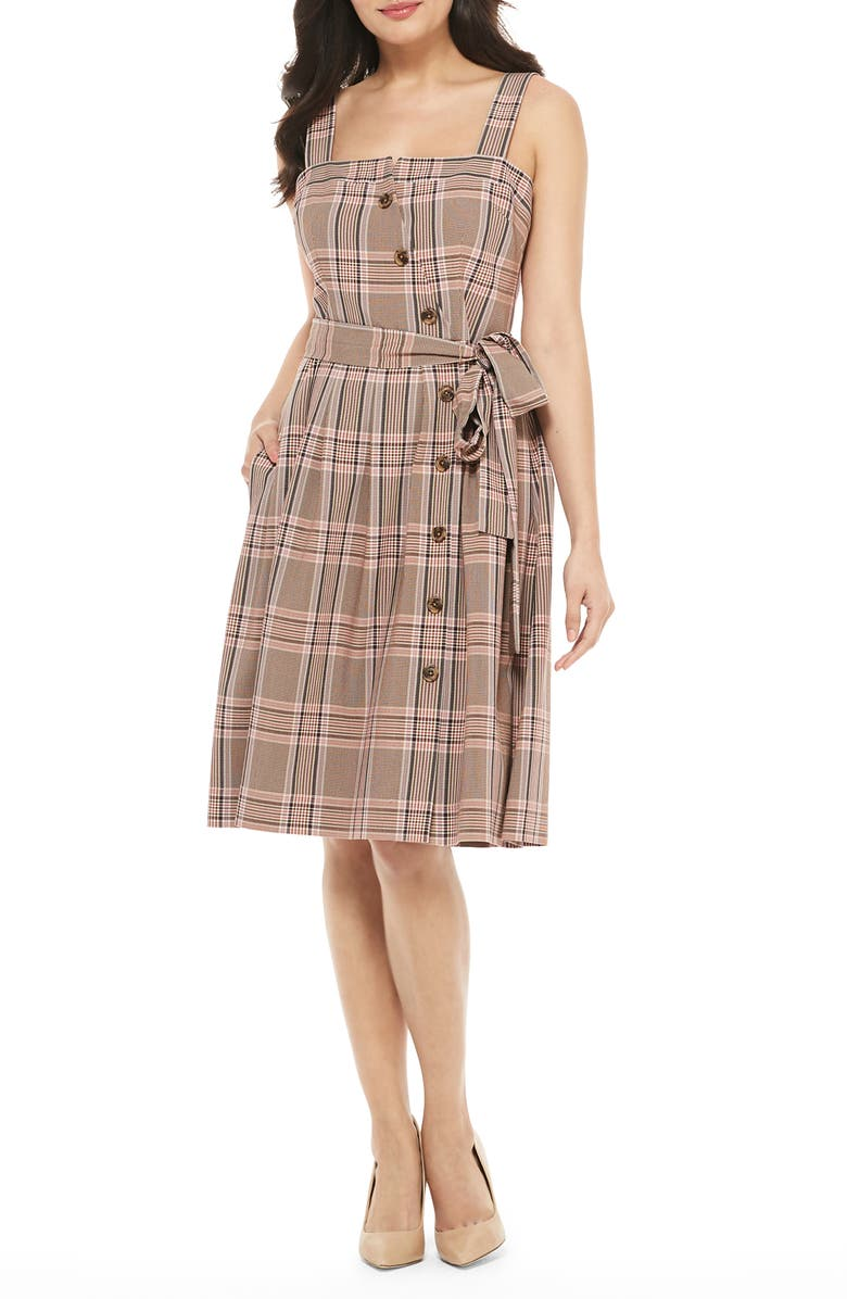 GAL MEETS GLAM COLLECTION Madison Plaid Button Front Sundress, Main, color, 200