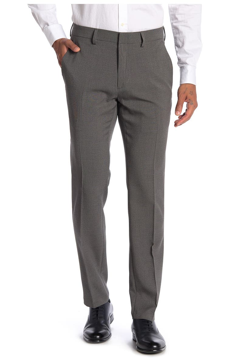 """KENNETH COLE REACTION Heather Tic Stretch Suit Separates Trousers - 29-34"""" Inseam, Main, color, MED GREY"""