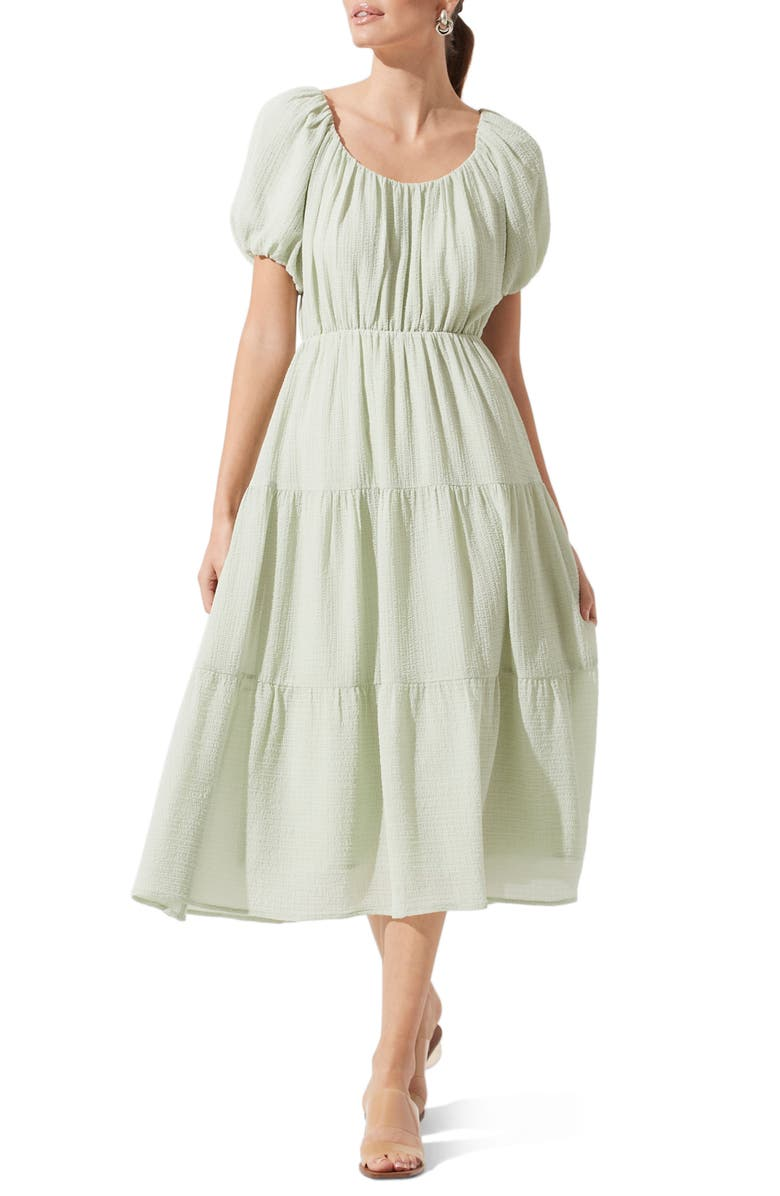 ASTR THE LABEL Tiered Short Sleeve Dress, Main, color, SAGE