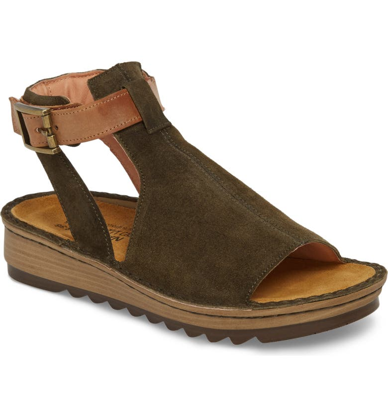 NAOT Verbena Sandal, Main, color, BRUSHED OILY OLIVE SUEDE