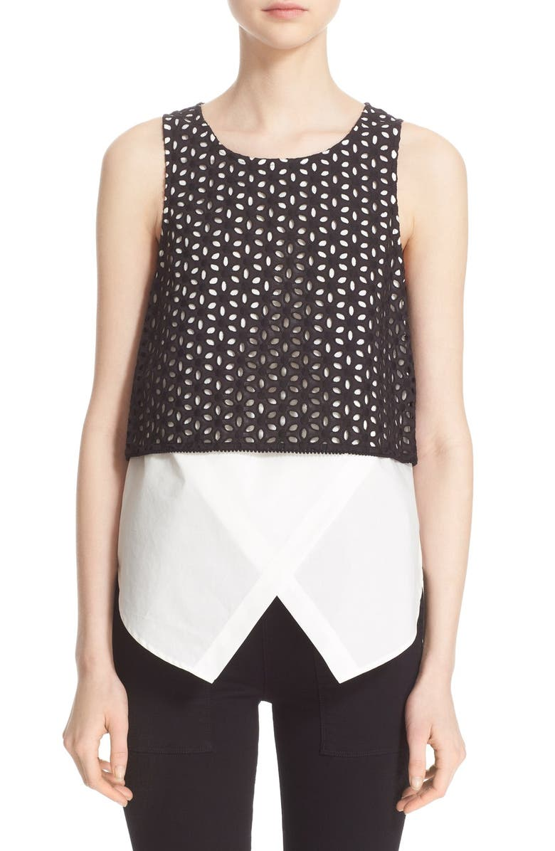 DEREK LAM 10 CROSBY Eyelet Embroidered 2-in-1 Stretch Cotton Shirt, Main, color, Black