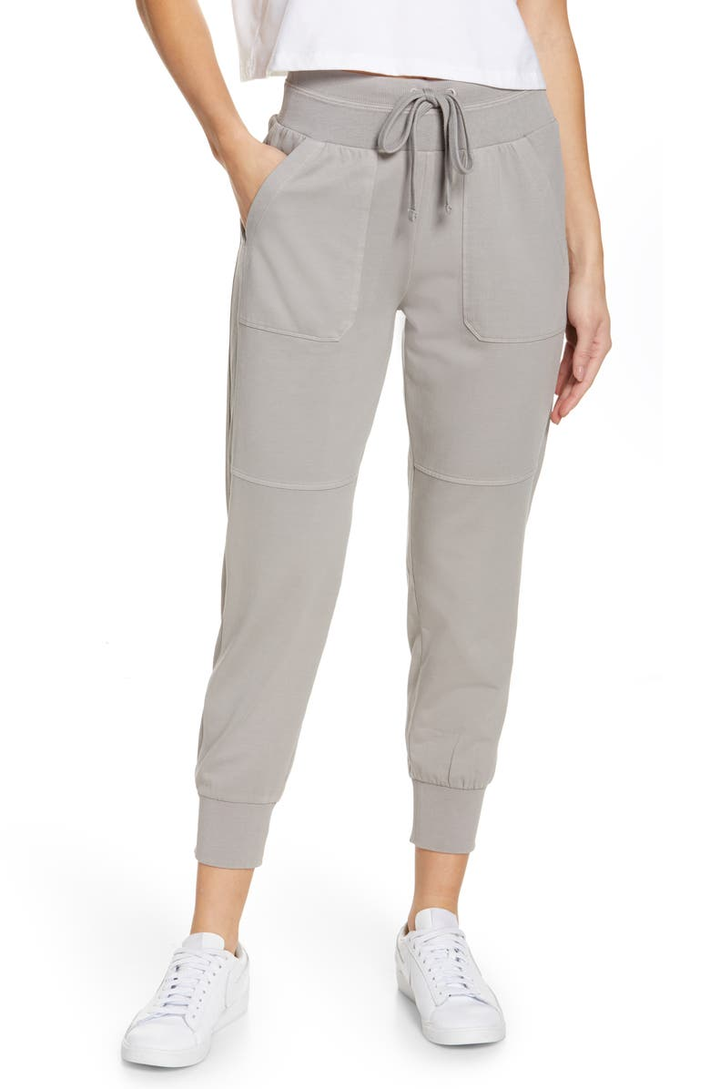 ZELLA Washed Organic Cotton Ankle Joggers, Main, color, GREY ALLOY