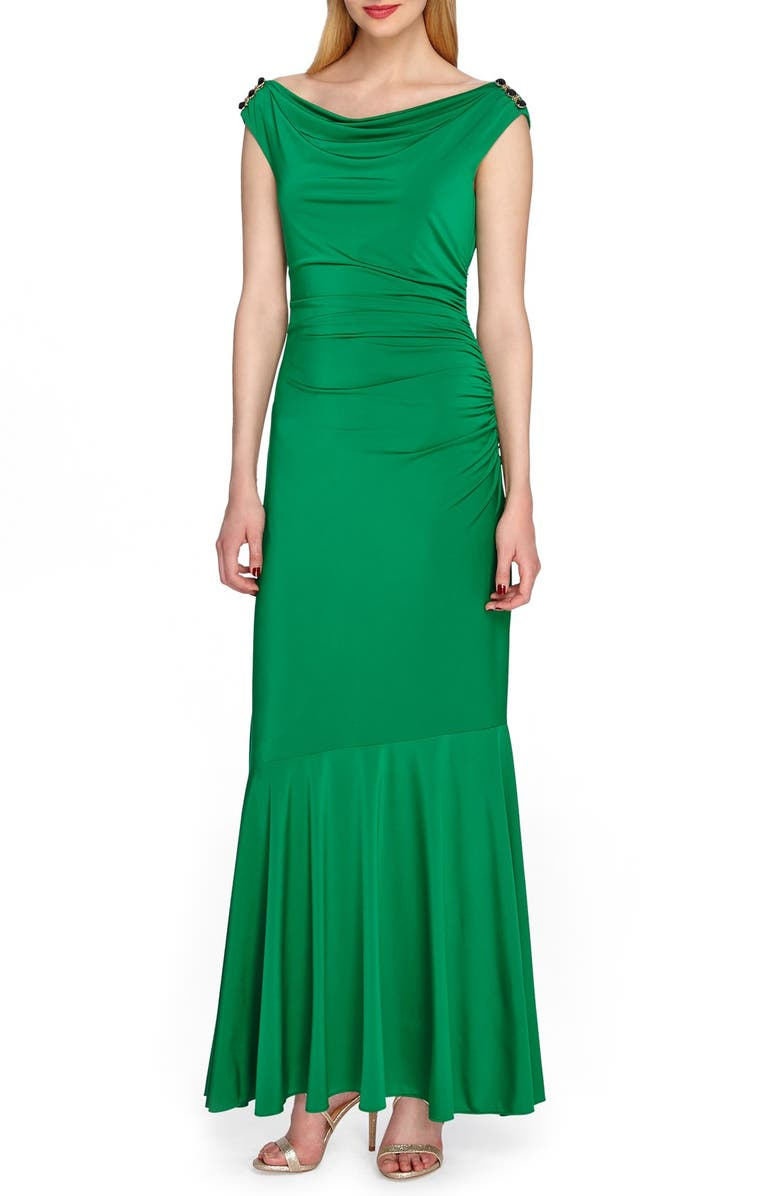 TAHARI Ruched Jersey Mermaid Gown, Main, color, 307