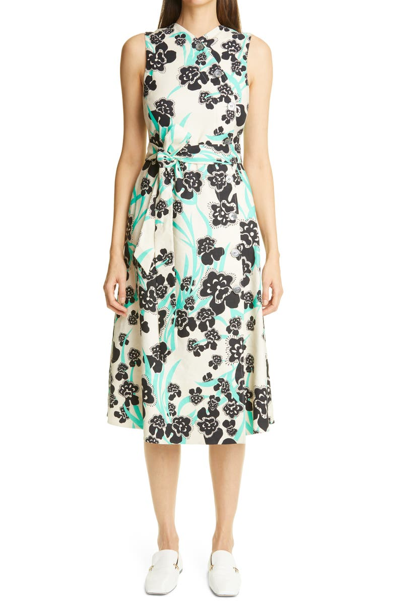 ST. JOHN COLLECTION Belted Stretch Twill A-Line Dress, Main, color, CHAMOMILE MULTI CHMT