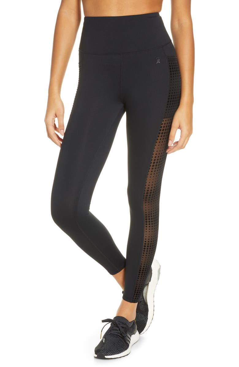 GOOD AMERICAN Ascending Dot Mesh Pocket Leggings, Main, color, 001