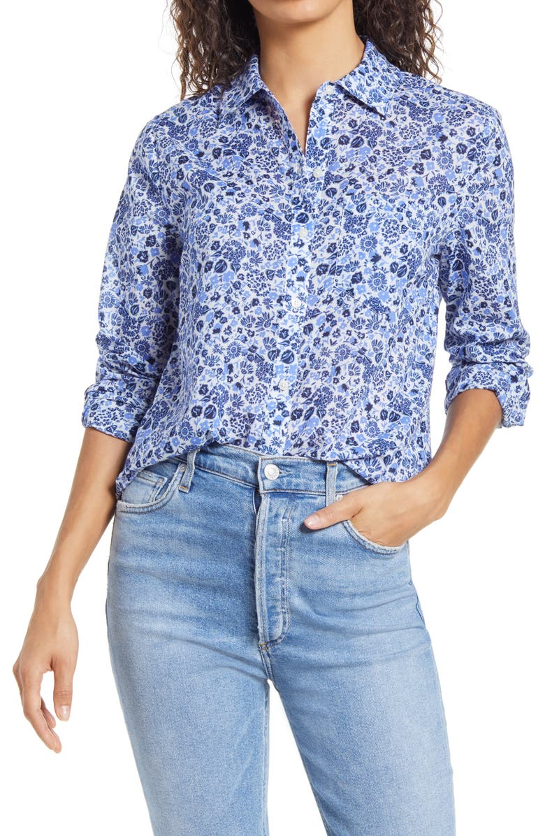 VINEYARD VINES Among the Flowers Chilmark Button-Up Cotton Shirt, Main, color, FLOWERS - PERIWINKLE