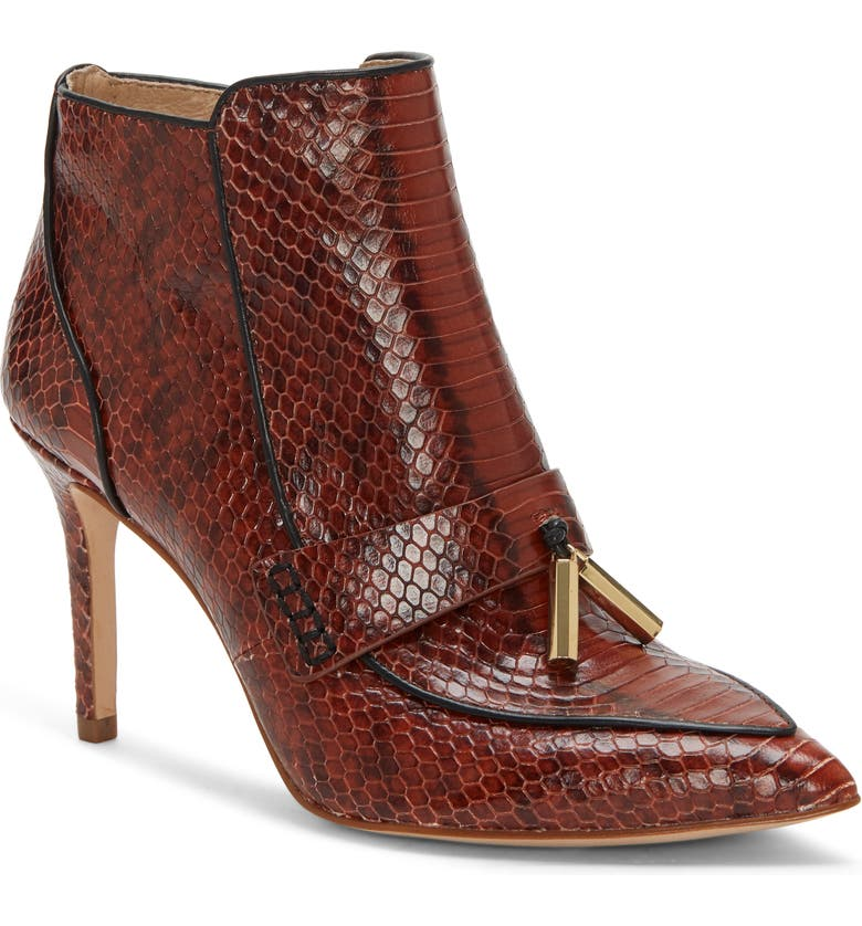 LOUISE ET CIE Shiro Bootie, Main, color, BURNT TAWNY SNAKE PRINT