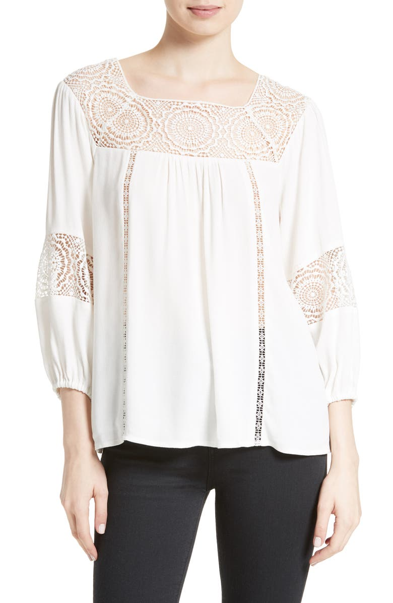 JOIE Bellange Lace Trim Blouse, Main, color, 114