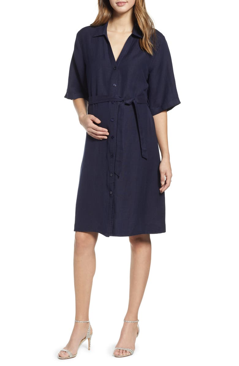 ANGEL MATERNITY Belted Linen Blend Maternity Shirtdress, Main, color, NAVY