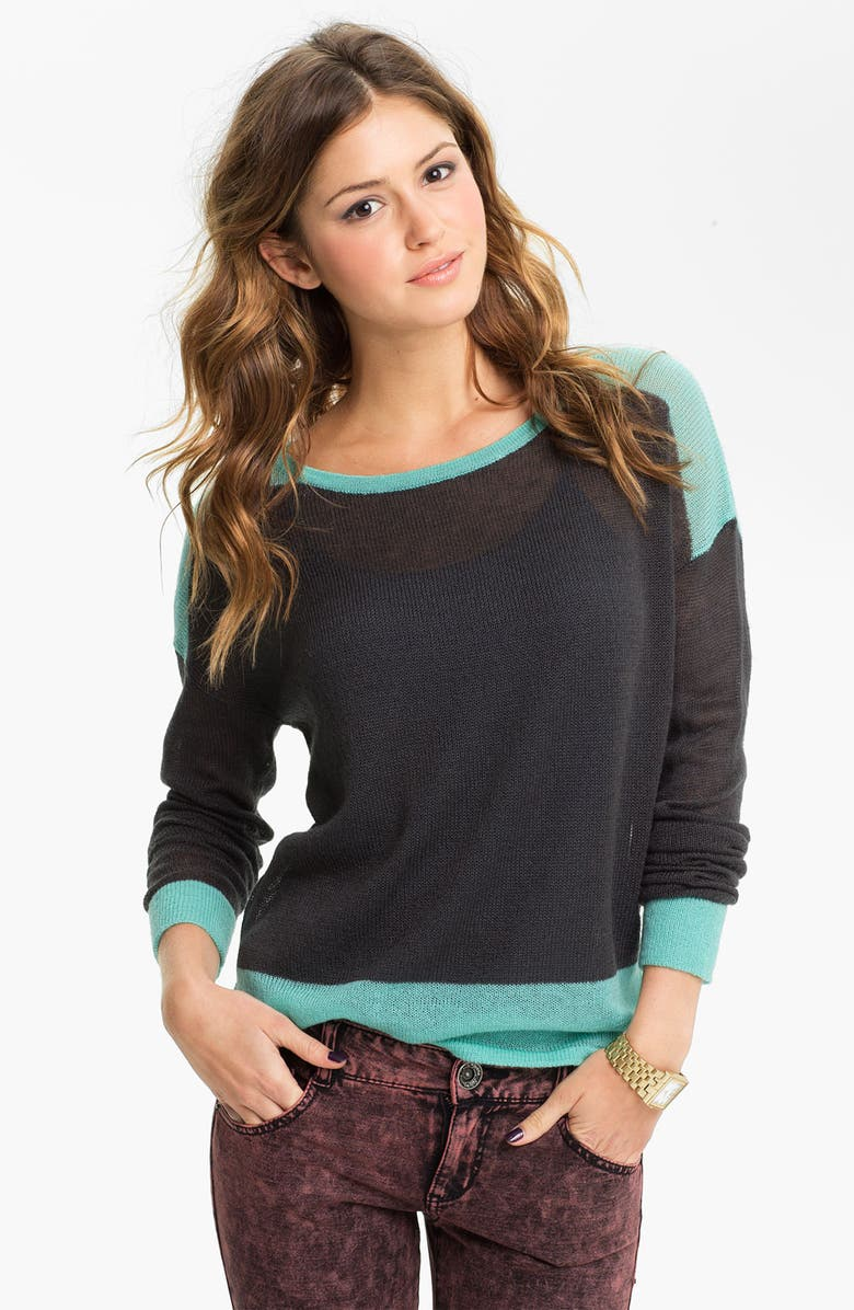 RUBBISH<SUP>®</SUP> Colorblock Boxy Sweater, Main, color, MIKEY GREY- FORGED