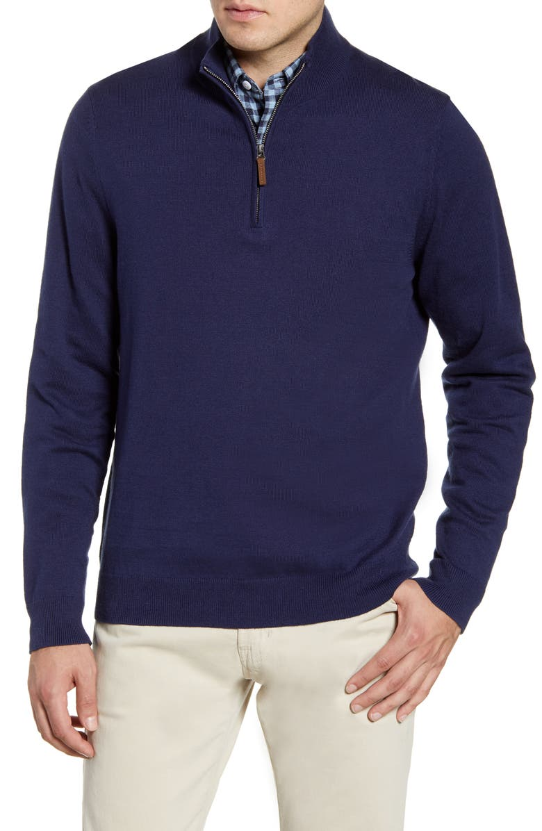 NORDSTROM Half Zip Cotton & Cashmere Pullover, Main, color, NAVY IRIS