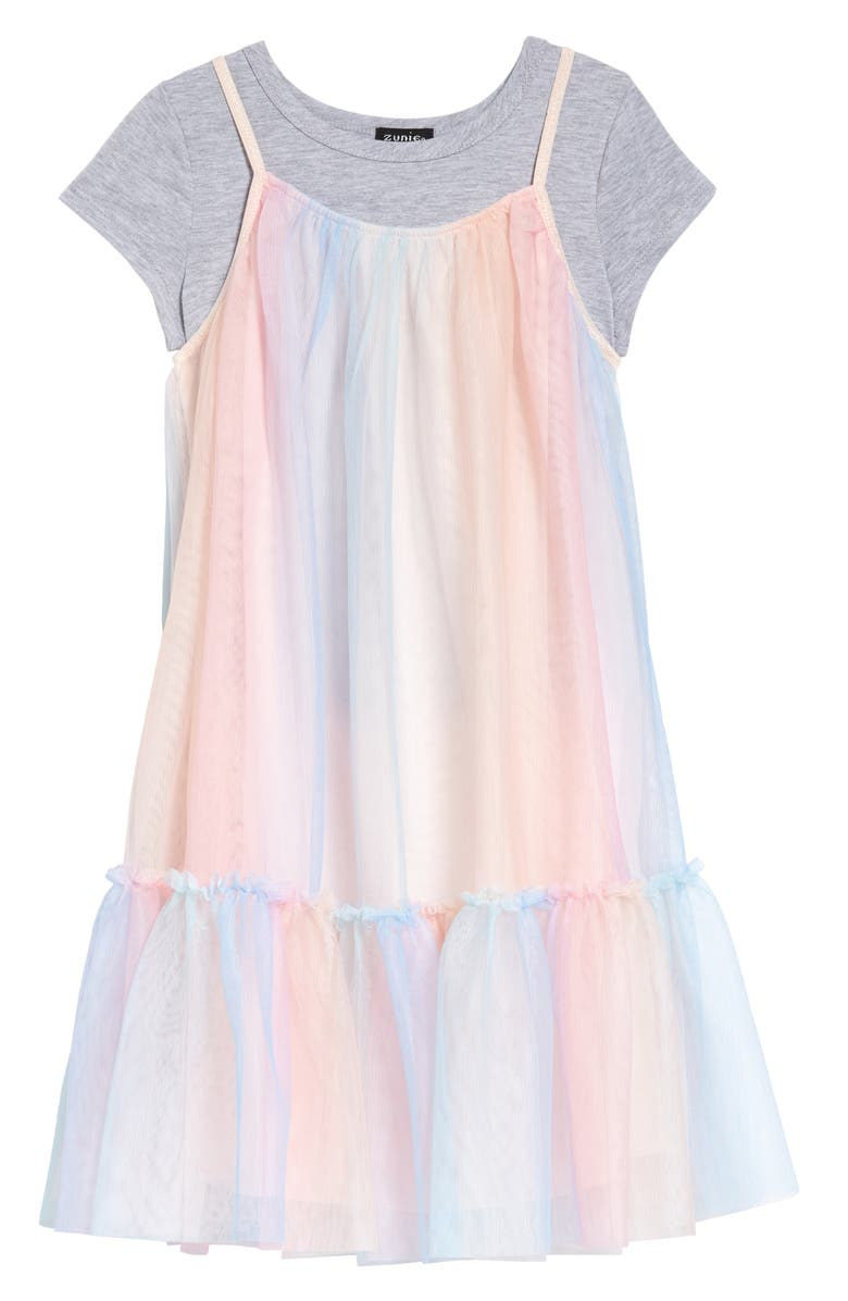 ZUNIE Kids' Tiered Slipdress with T-Shirt, Main, color, RAINBOW