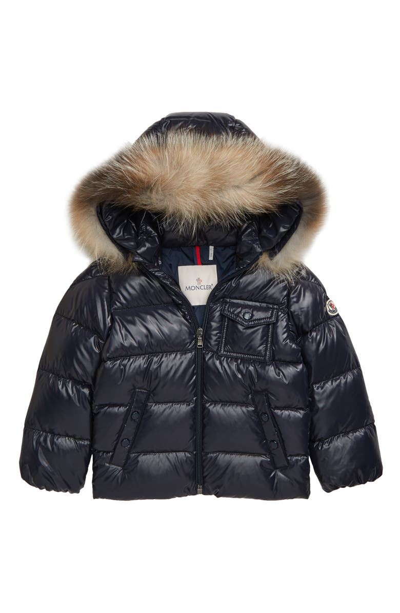 MONCLER K2 Water Resistant Hooded Down Puffer Jacket with Genuine Fox Fur Trim, Main, color, NAVY