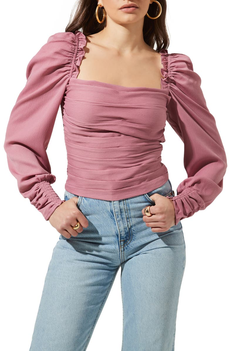 ASTR THE LABEL Square Neck Puff Sleeve Top, Main, color, PINK