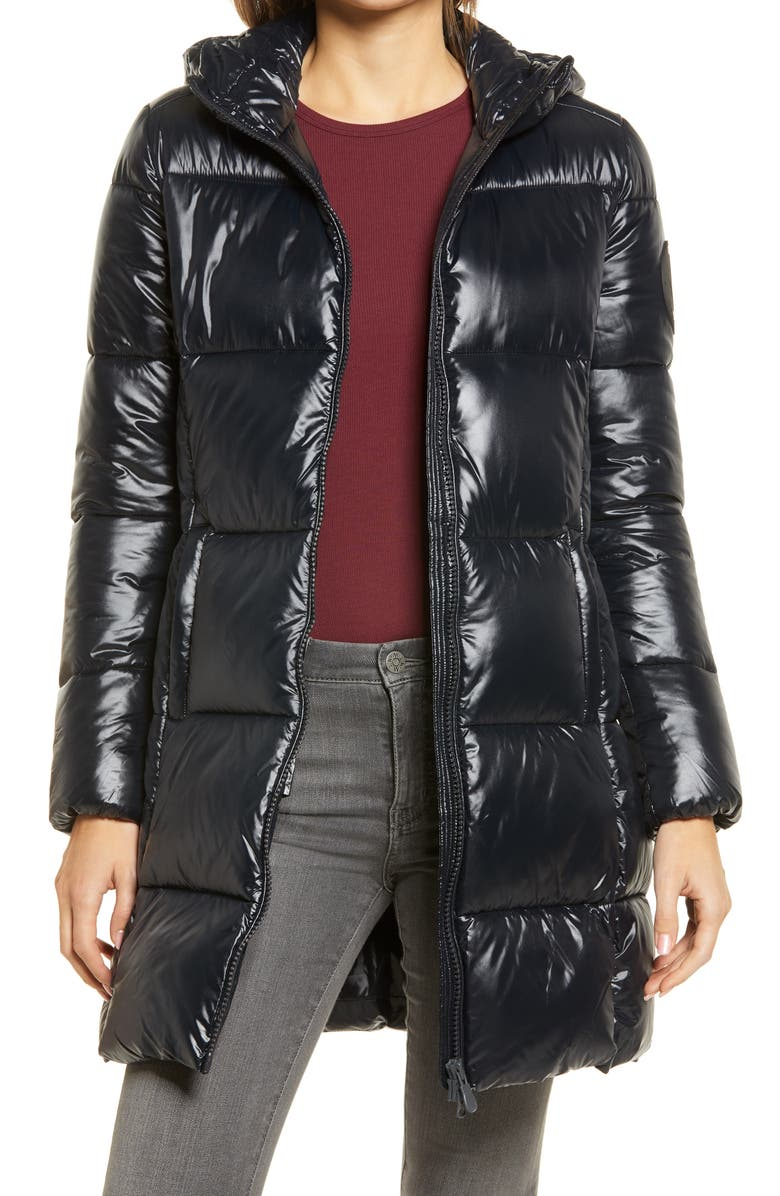 SAVE THE DUCK Luck Long Puffer Coat, Main, color, 001