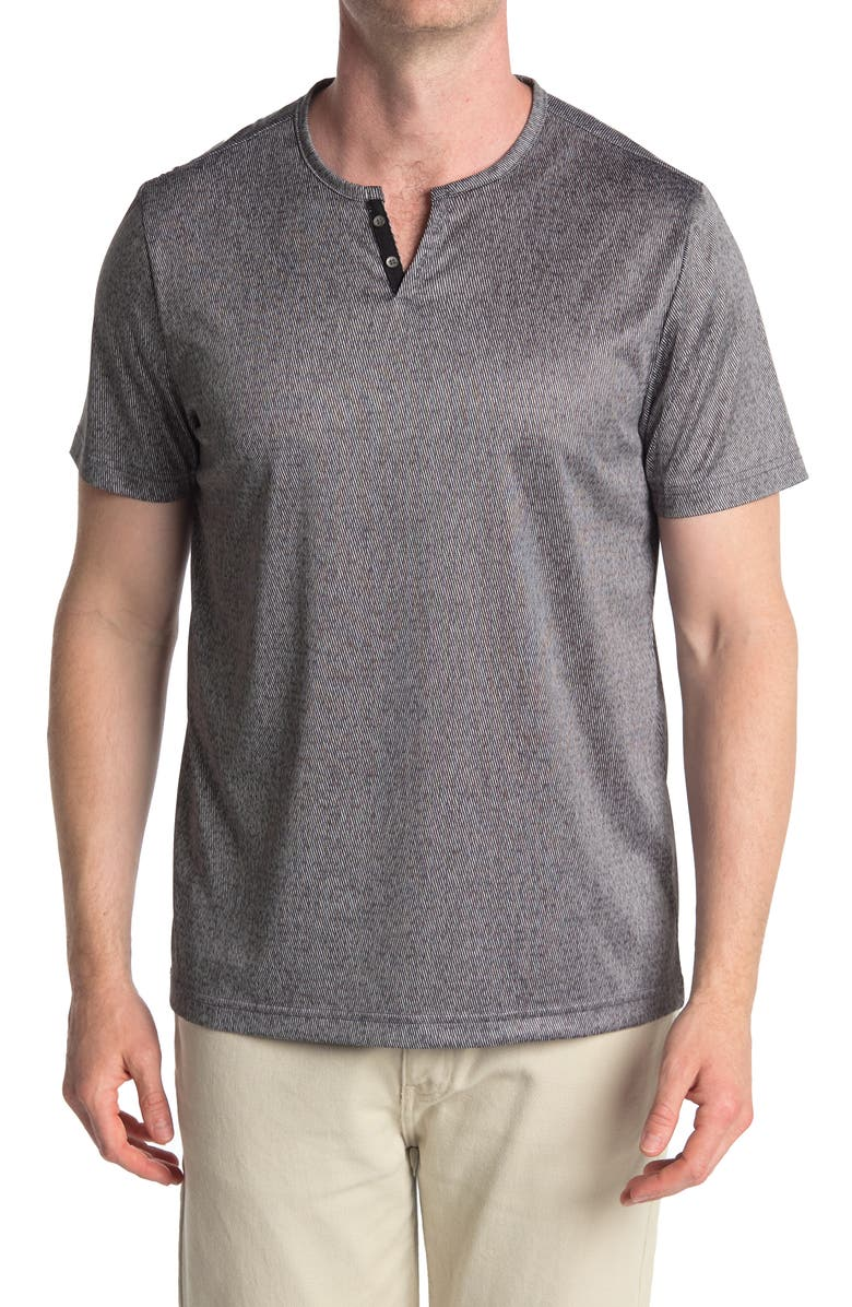 CONSTRUCT Short Sleeve Knit Henley, Main, color, CHARCOAL