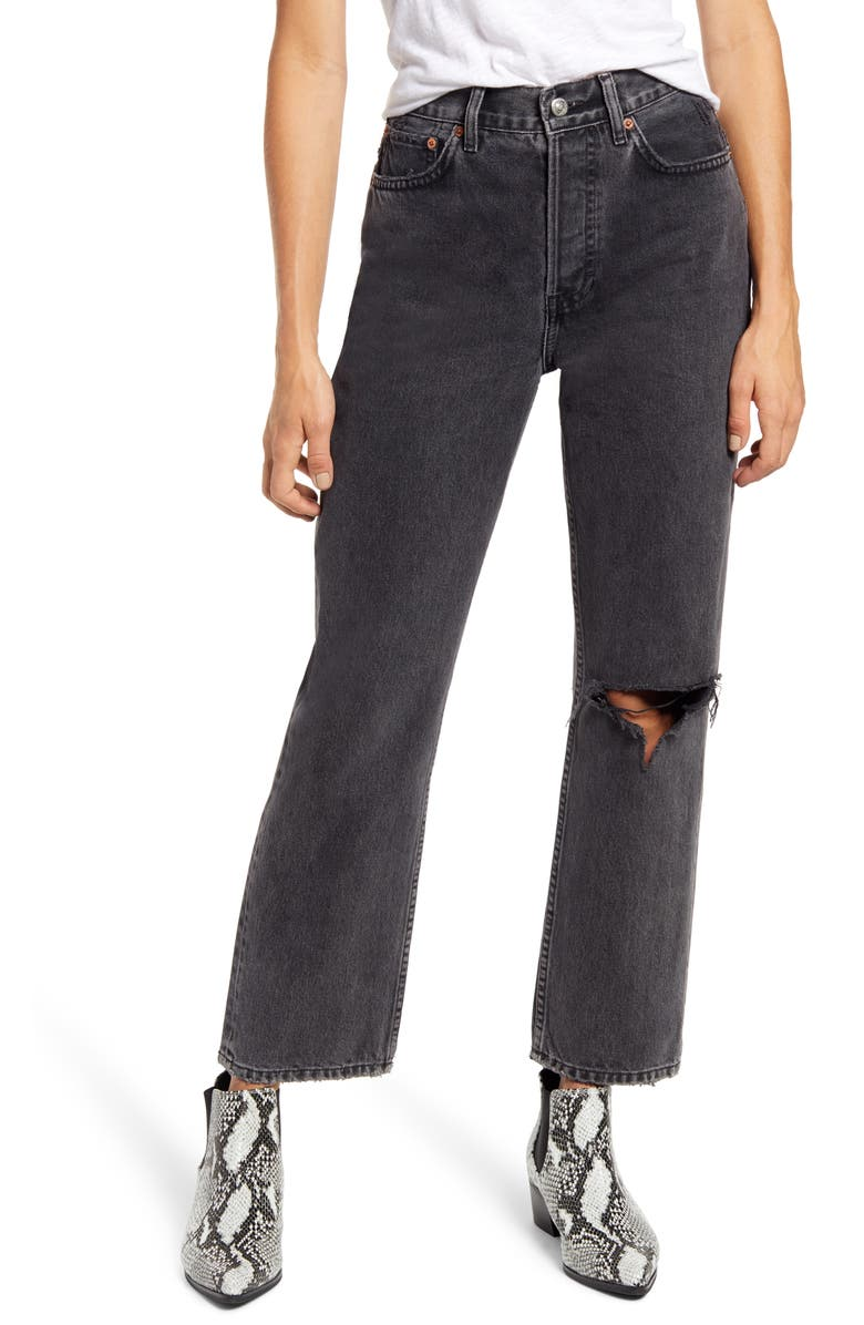 TOPSHOP Chicago Ripped Knee High Waist Dad Jeans, Main, color, WASHED BLACK
