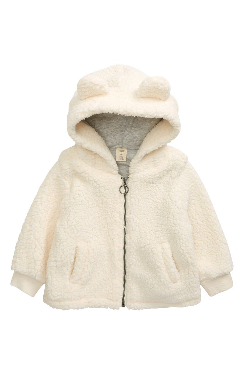 TUCKER + TATE Cozy Hooded Faux Fur Jacket, Main, color, IVORY PRISTINE
