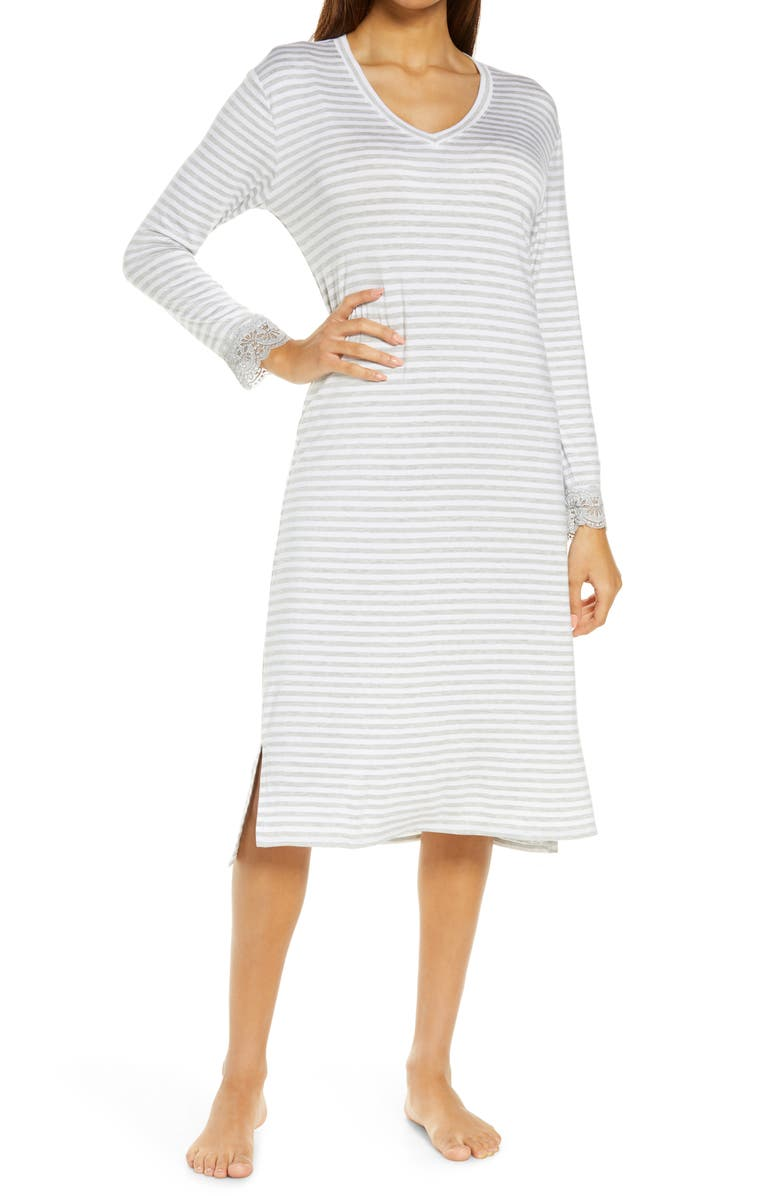 NORDSTROM V-Neck Nightgown, Main, color, GREY HEATHER EVEN STRIPE