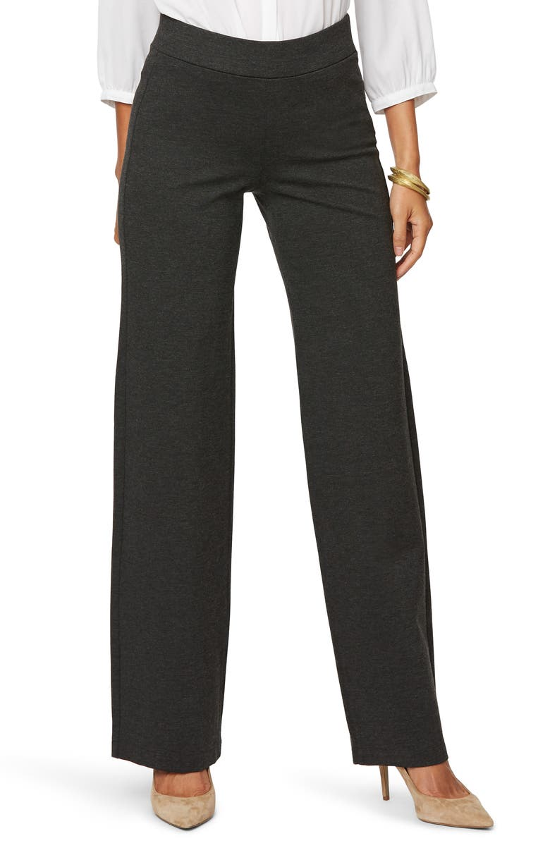 NYDJ Straight Leg Pull-On Pants, Main, color, CHARCOAL HEATHERED