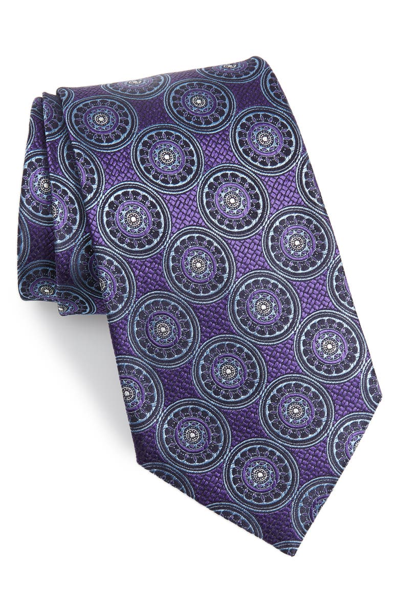 ERMENEGILDO ZEGNA Medallion Silk Tie, Main, color, 500