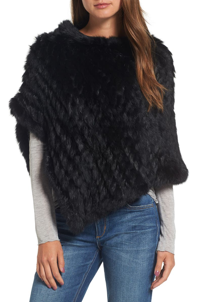 LA FIORENTINA Genuine Rabbit Fur Poncho, Main, color, BLACK/BLACK