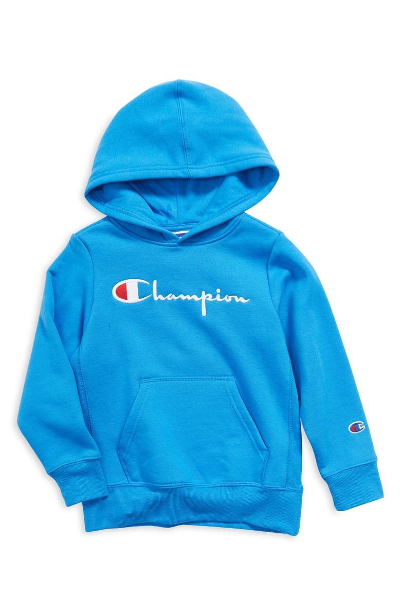 CHAMPION Kids' Embroidered Premium Fleece Hoodie, Main, color, BLUE JAY