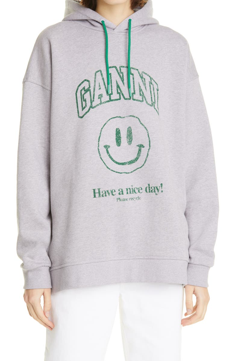 GANNI Software Isoli Organic Cotton Graphic Hoodie, Main, color, MISTY LILAC