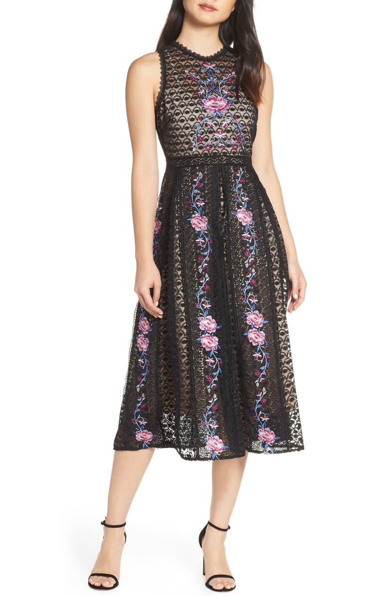 FOXIEDOX Lori Embroidered Lace Midi Dress, Main, color, 001