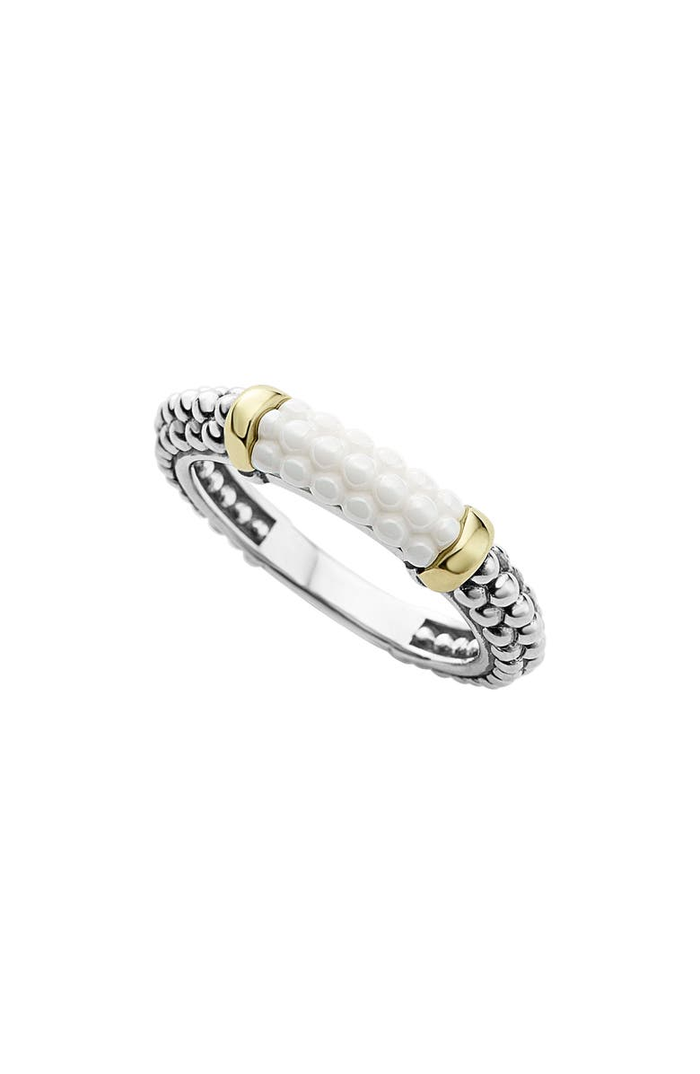 LAGOS 'Caviar' Stacking Ring, Main, color, WHITE/ GOLD