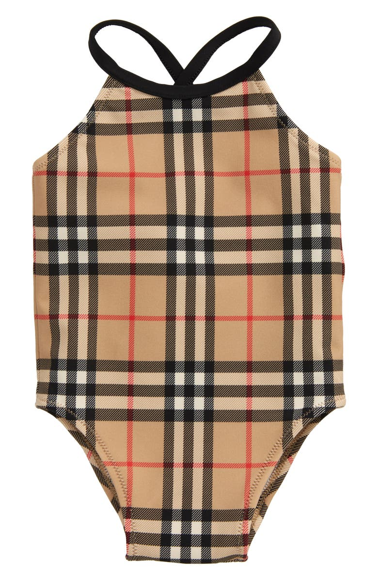 BURBERRY Crina Check One-Piece Swimsuit, Main, color, ARCHIVE BEIGE