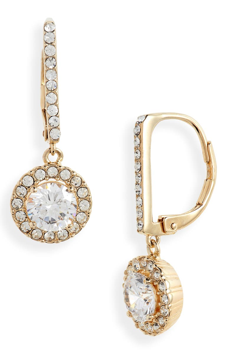 NORDSTROM Cubic Zirconia Halo Drop Earrings, Main, color, CLEAR- GOLD