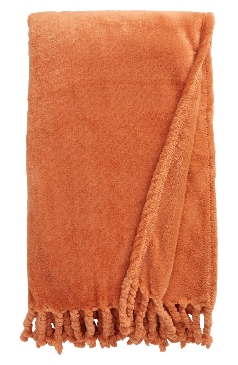 NORDSTROM Bliss Plush Throw, Main, color, RUST LEAF