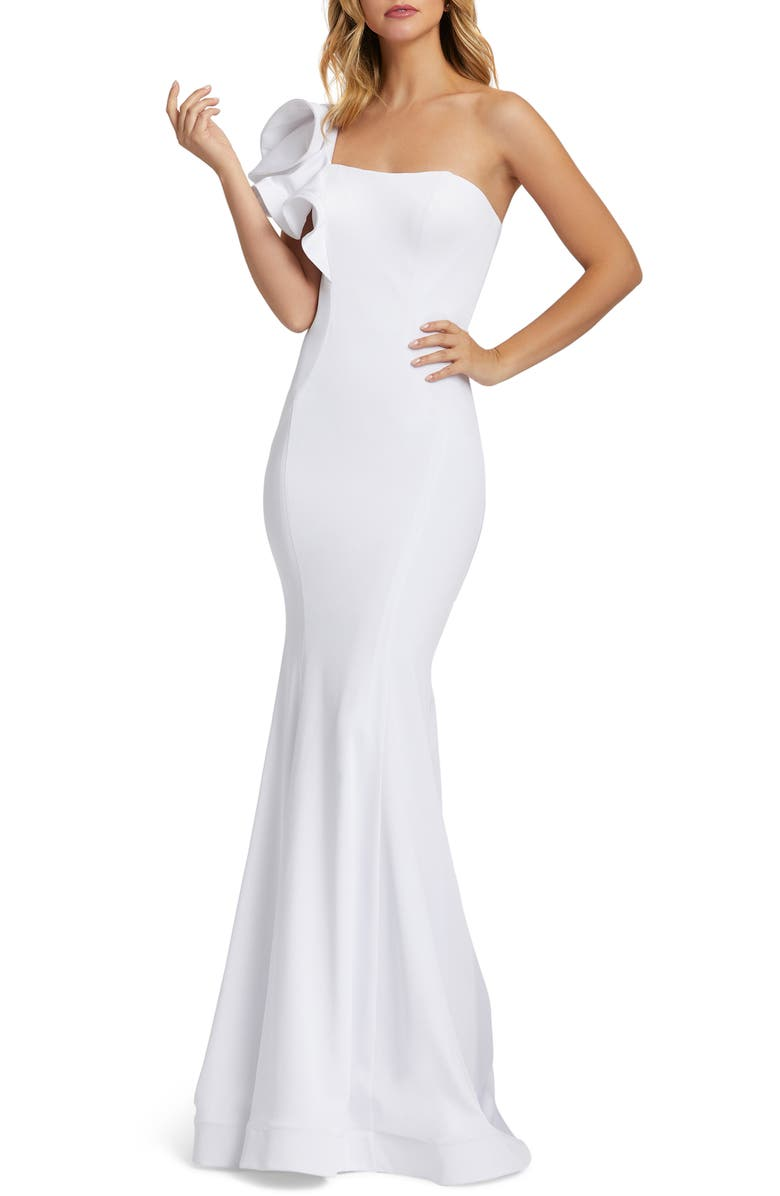 IEENA FOR MAC DUGGAL leena For Mac Duggal Ruffle One-Shoulder Mermaid Gown, Main, color, WHITE