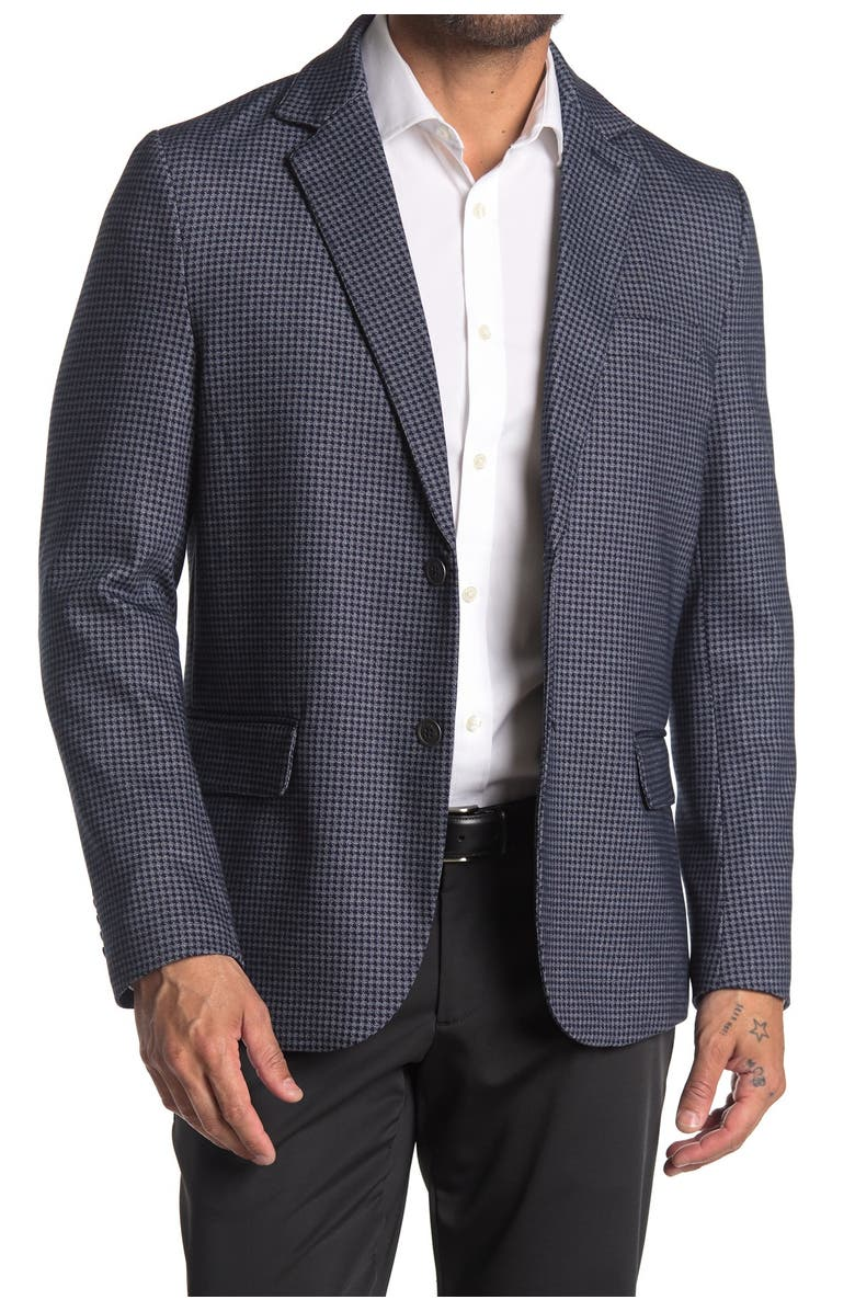 CONSTRUCT Navy Houndstooth Two Button Notch Lapel Slim Fit Blazer, Main, color, NAVY