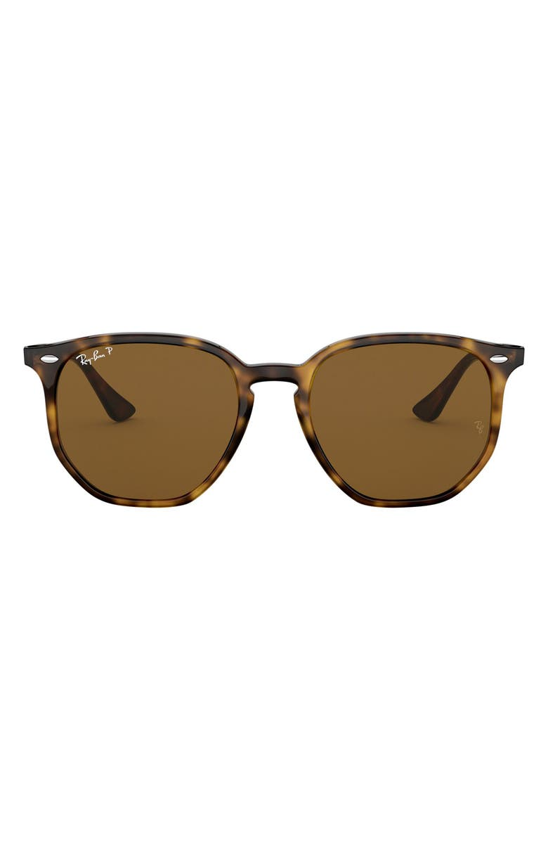 RAY-BAN 54mm Polarized Round Sunglasses, Main, color, HAVANA/ BROWN SOLID