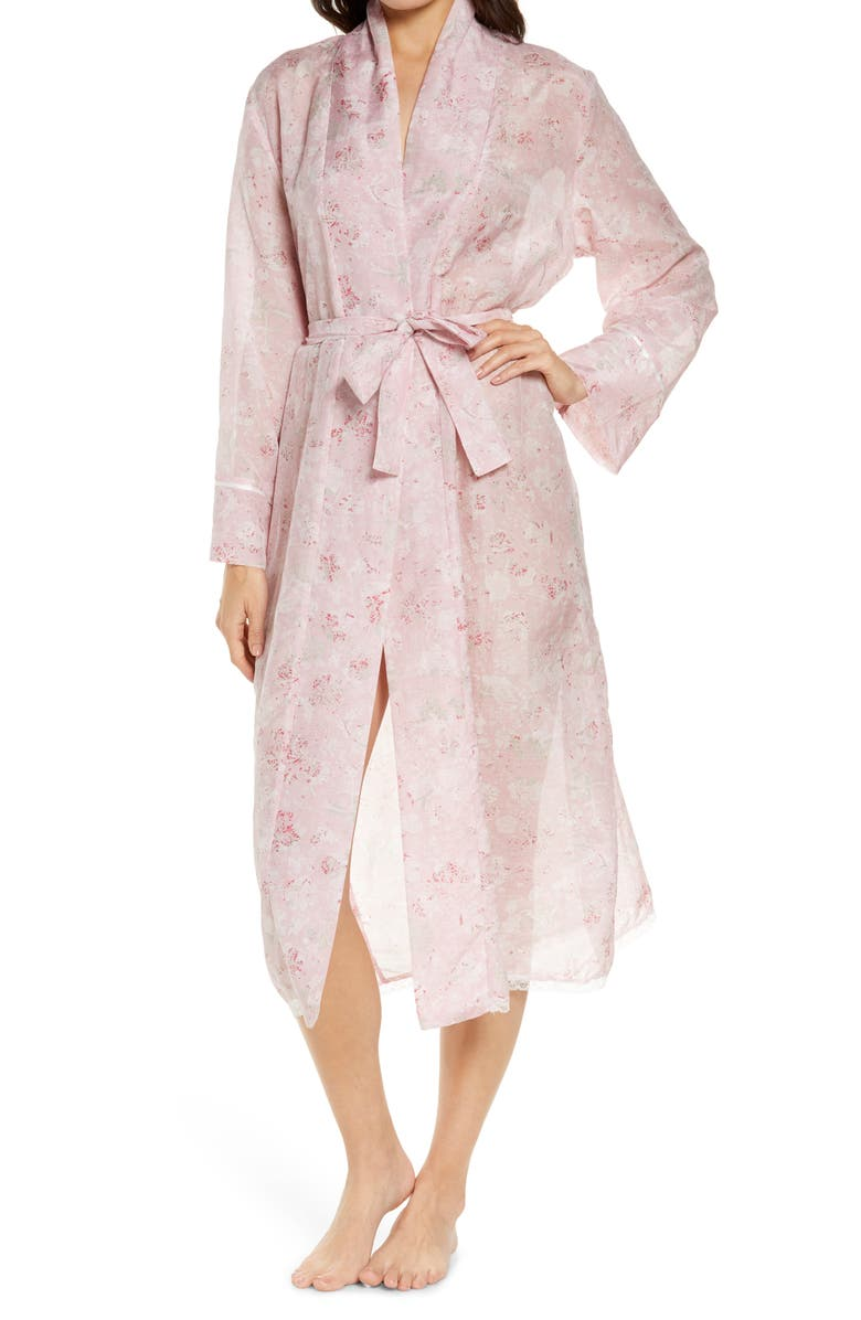 PAPINELLE Louis Pink Floral Cotton & Silk Robe, Main, color, PINK
