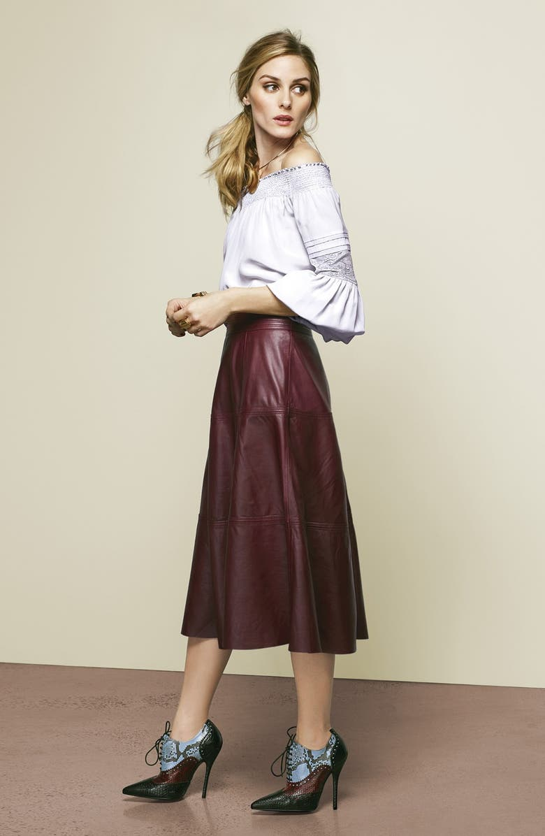 CHELSEA28 Olivia Palermo + Chelsea28 Silk Off the Shoulder Peasant Top, Main, color, NUDE PINK