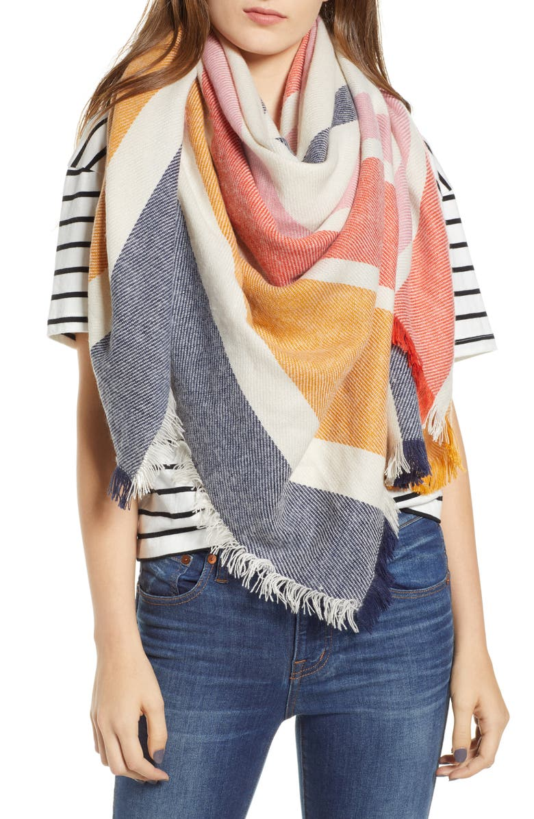 MADEWELL Stripe Blanket Scarf, Main, color, 400
