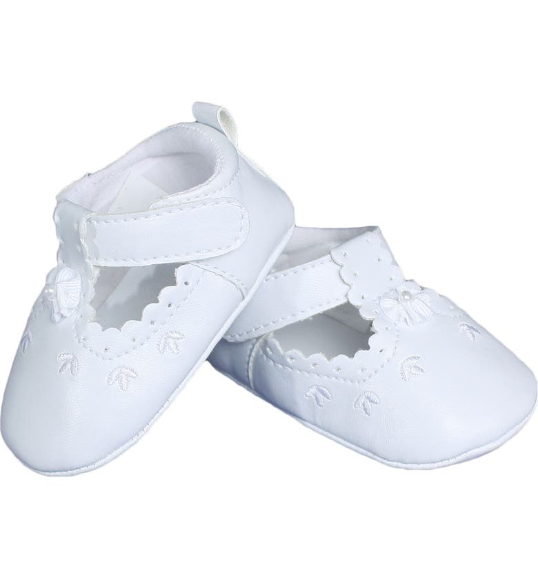 LITTLE THINGS MEAN A LOT Mary Jane Crib Shoe, Main, color, WHITE