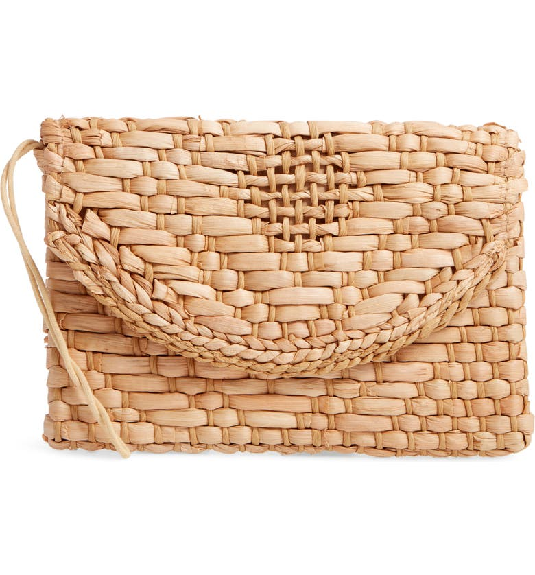 KNOTTY Woven Straw Clutch, Main, color, 200
