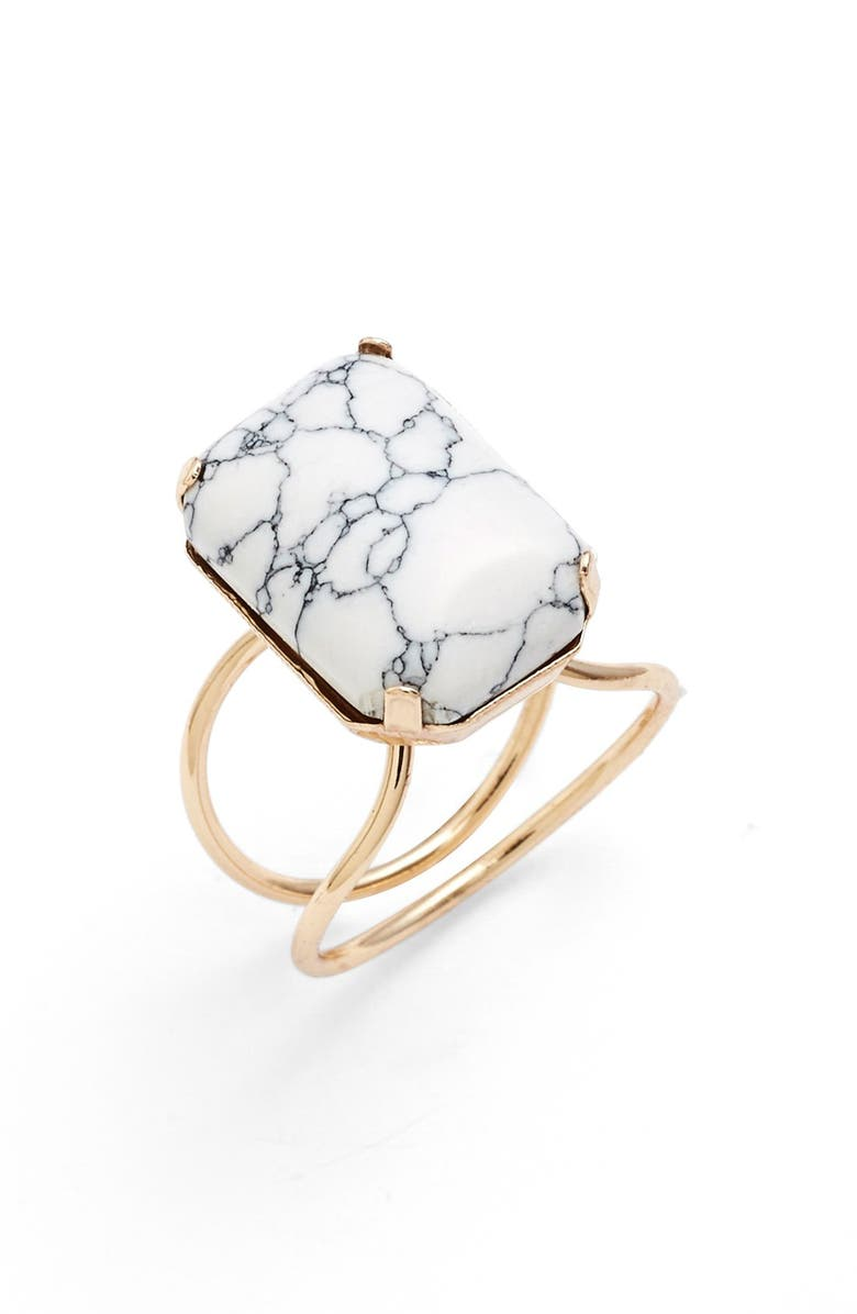 BP. Marbled Stone Ring, Main, color, WHITE/ GOLD
