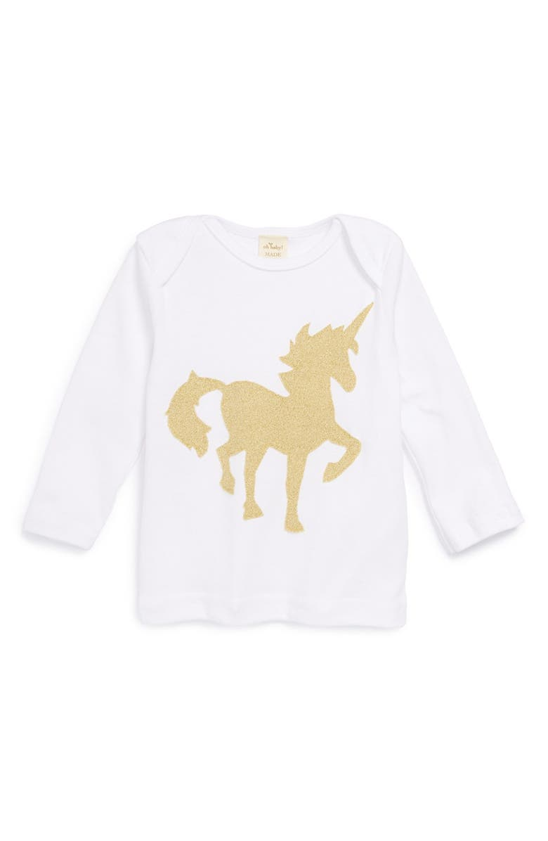 OH BABY ! 'Gold Unicorn' Long Sleeve Cotton Top, Main, color, 100
