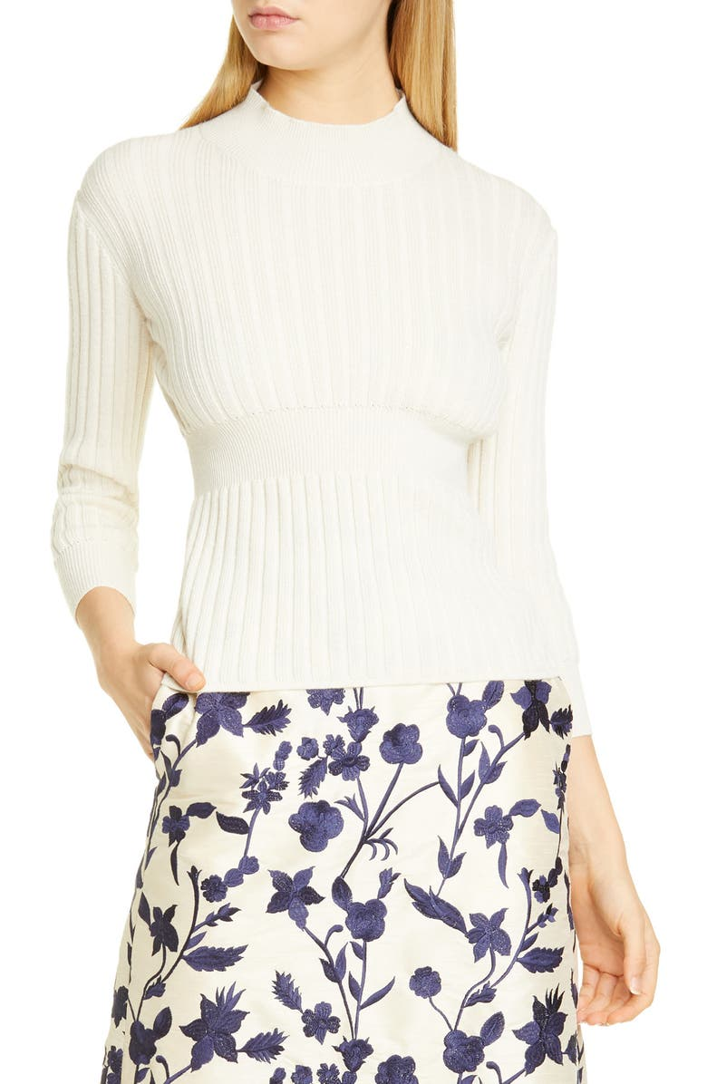 BROCK COLLECTION Rib Knit Cashmere & Silk Sweater, Main, color, 900