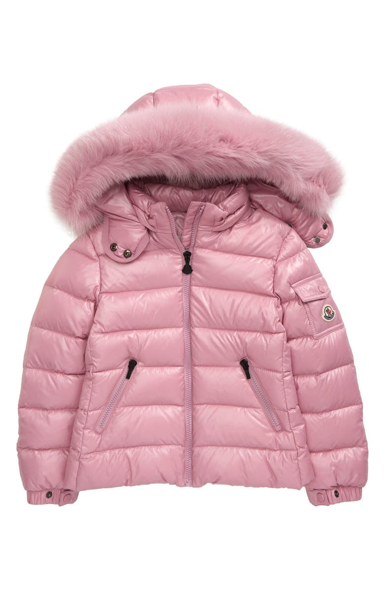 MONCLER Kids' Bady Water Resistant Down Puffer Coat with Genuine Fox Fur Trim, Main, color, DUSTY PINK