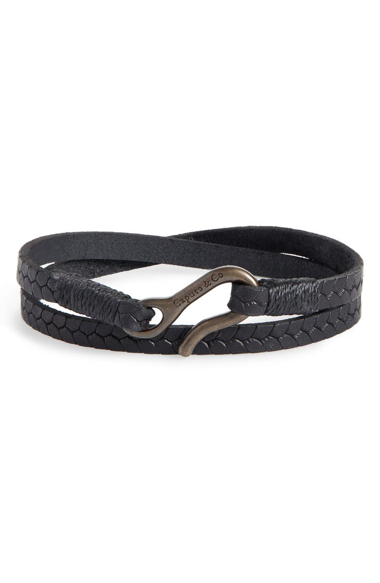 CAPUTO & CO. Embossed Leather Wrap Bracelet, Main, color, BLACK